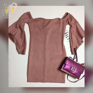Plus Mauve faux suede off shoulder dress 2X